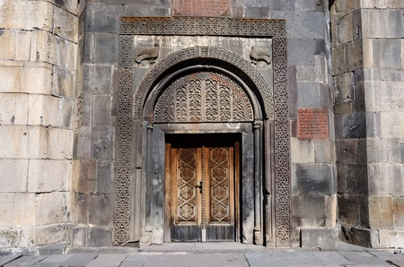 geghard: Ornamental gate of ancient Geghard monastery,Armenia, unesco world heritage site