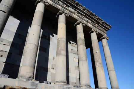 neopaganism: Colonnade of Garni temple,dedicated to sun god Mithra - classical Hellenistic building , one of main tourist attractions in Armenia and the central shrine of neopaganism