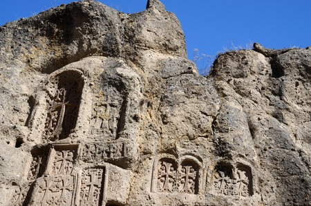 armenia: Stone steles with crosses khachkars Geghard monasteryancient christian artArmeniaCentral Asia unesco heritage