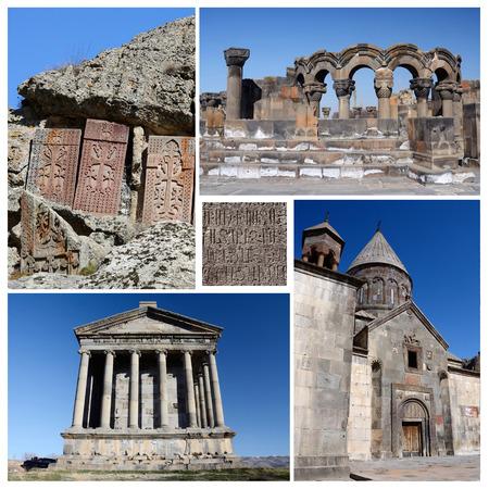 armenia: Collage of popular Armenia touristic landmarks ruins of Zvartnots templestone khachkarsGeghard monastery and Garni temple Stock Photo