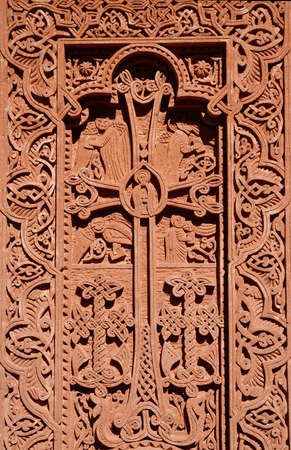 geghard: Stone carving - christian cross with floral ornament in Geghard rock monastery,Armenia,Caucasus,