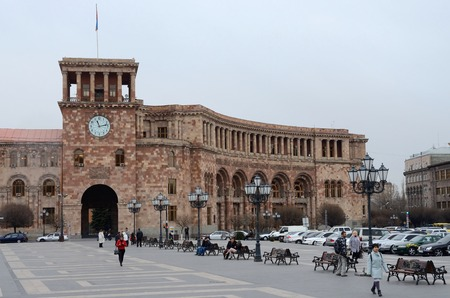 central government: Yerevan,Armenia,March 13,2015 -Government House at the central Republic Square in overcasr weather on March 132015.Erevan is the capital and has  population over 1 million people in Yerevan,Armenia