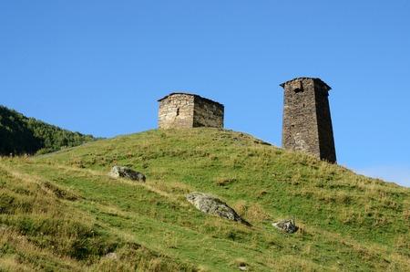 svan: Abandoned ancient ruins of fortified tower at medieval svan village , settlement Ushguli,Svaneti, Georgia, Caucasus