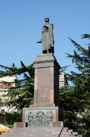 rustaveli: Tbilisi, Georgia,September 5, 2014 - Monument dedicated to famous georgian poet Shota Rustaveli in Tbilisi Editorial