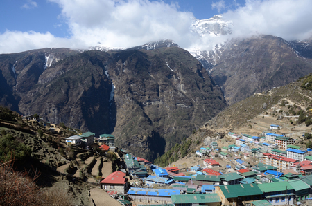 porter house: Namche Bazaar view - popular place among trekkers in the Khumbu region, especially for altitude acclimatization, and is the gateway to the high Himalaya,Nepal