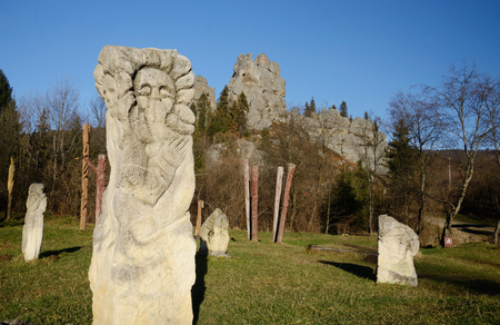 idols: Ancient idols near ruins of Tustan - rock fortress in Carpathian Mountains, historical and cultural reserve,Western Ukraine Stock Photo
