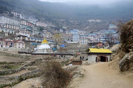 porter house: Gate to Namche Bazar village view,Sagarmatha national park, Khumbu valley,Himalaya,Nepal way to Everest base camp