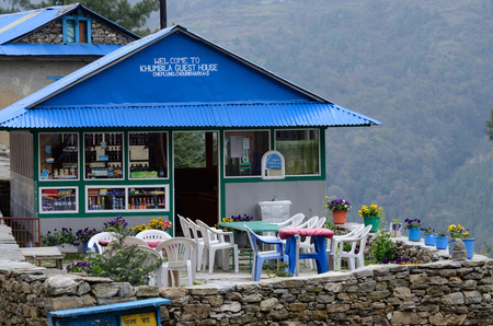porter house: PHERICHE, NEPAL - APRIL 25, 2013 : Guesthouse-cafe on the way to Everest base camp,Khumbu region on April 25, 2013 in Pheriche, Nepal. Pheriche village is a beautiful natural village.