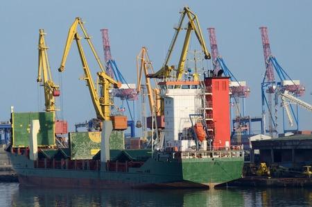 sea seaport: Container ship loading goods at Odessa cargo port - largest Ukrainian seaport on Black Sea,Europe