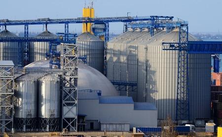 car carrier: Grain dryers of Odessa Marine Trade cargo port, largest Ukrainian seaport on Black Sea