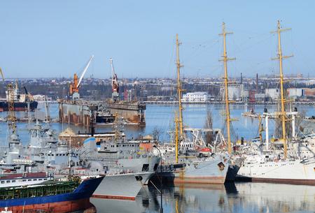 anchor marine: Naval ships moored in military harbor of Odessa - largest Ukrainian sea port on Black Sea,Europe