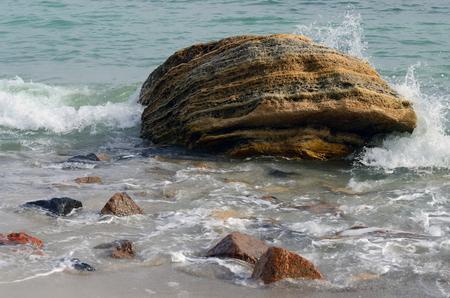 'black sea': Limestone rock stones,Odessa,Black Sea,Ukraine Stock Photo