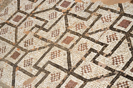 mosaic floor: Mosaic floor of ancient roman villa with ancient geometrical ornament including swastika symbol ,archaeological park Tombs of Kings,Paphos,Cyprus