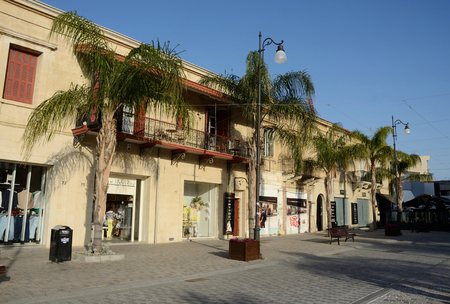 eponymous: LARNACA, CYPRUS - APRIL 7, 2016: Streets of an old town.Larnaca - city on southern coast of Cyprus and capital of the eponymous district. It is the third-largest city in the country, after Nicosia and Limassol