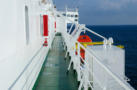 On the deck of passenger ferryboat Stock Photo