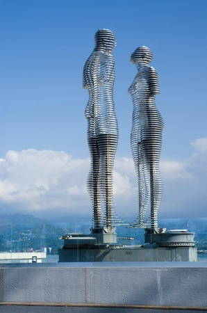 BATUMI, GEORGIA - OCTOBER 7: Futuristic moving metal sculpture Love of Ali and Nino on October 7, 2016 in Batumi, Georgia.Statues described story of muslim Azerbaijani boy and Christian Georgian girl Editorial