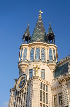 Old building in art nouveau style with tower and astronomical clock,Europe Square,Batumi,Georgia