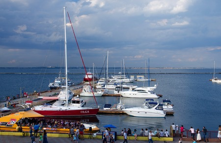 yacht club: ODESSA, UKRAINE - AUGUST 15, 2016: View of yacht club located at passenger seaport of international importance,northwest coast of the Black Sea Editorial