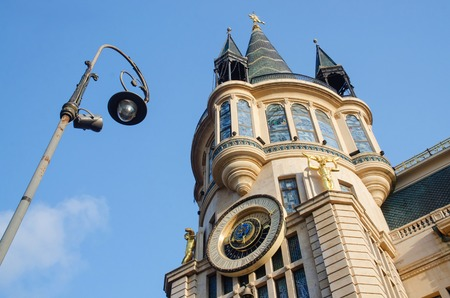 Old building in art nouveau style and vintage lantern at Europe Square,Batumi,Georgia,Ajara