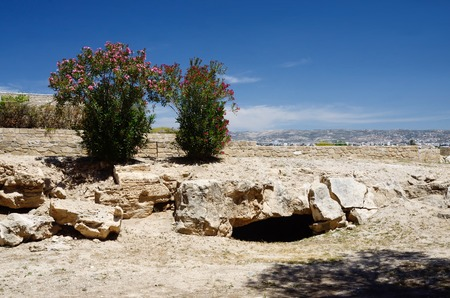 Ruins in archaeological park Tombs of the Kings, Kato Paphos,Cyprus island, famous landmark,unesco heritage