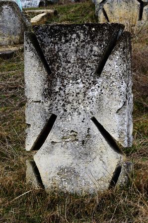 Maltese stone cros on ancient ukrainian Cossacks graveyard,Odessa, Ukraine,Europe Stock Photo