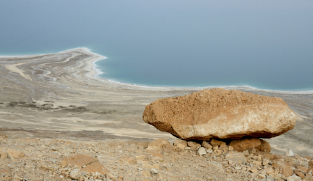 View of Dead Sea shore from the road in Judean desert, Israel, Middle East