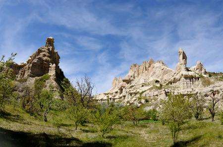 Beautiful rocks at Pigeon valley (Guvercin vadisi) in Cappadocia,famous hiking place,Turkey Imagens