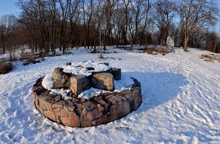 Pagan's altar on Lysa Hora (Khorevytsya) or Zamkova Hora in Kyiv,Ukraine. This hill has a mystical prehistory, it was on of so called