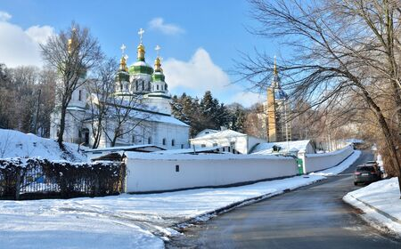 Vydubychi Monastery complex in Kyiv, Ukraine. It was named after an old Slavic legend about the pagan god Perun and the Grand Prince Vladimir the Great of Kiev