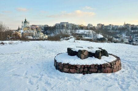 Pagan's altar on Lysa Hora (Khorevytsya) and view of St.Andrew church in Kyiv,Ukraine.This hill is known as place of power from ancient times, also witches and magicians used it for gatherings