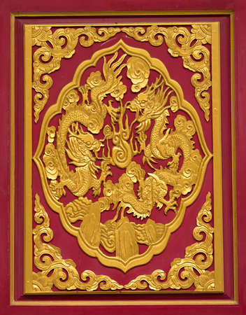 decorration: Art of Chinese double dragons in  Dragon temple Stock Photo