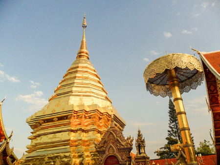 The famous pagoda named Doi Suthep in Chiang northern Thailand