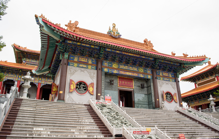 decorration: The big Chinese temple is art of Chinese in Nonthaburi Thailand