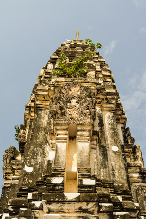 Wat Mahathat. The temple is in Ratchaburi province Thailand. The construction of places of worship and converted into a church center and create a laterite wall surrounds the center according to belief.