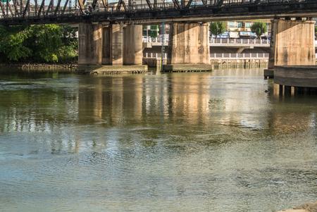 Mae Klong river and railway bridge Ratchaburi province Thailand