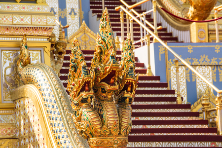 Decorating a crematorium for The Royal Cremation Ceremony of His Majesty the Late King, KING RAMA 9, Thailand