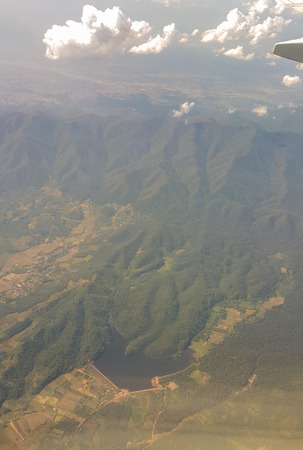 Beautiful forest and mountain scenery from the plane from Bangkok to Chiang Rai, Thailand Stock Photo