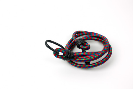 Elastic strap rope isolated on white background. Stock Photo