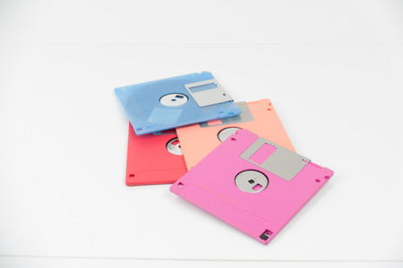 Pile of floppy disk with isolated on white background. Stock Photo