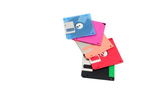 megabyte: Pile of floppy disk with isolated on white background. Stock Photo