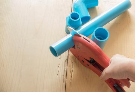 plastic pipe: scissors for cutting plastic pipe