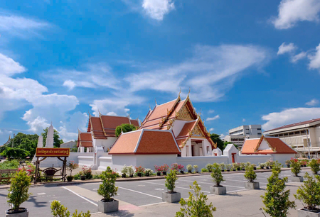 "Landscape with Blu sky of Thai temple ""WATPITULATIRATRANGSARI"" located at Chachoengsao Province"