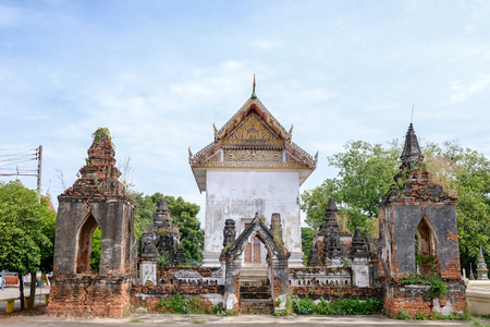 Ayutthaya sanctuary with two pagoda. It very old architecture since Ayuttaya period. This is the hybrid of architecture between the ancient and current architecture