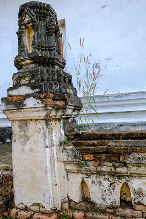 Thai Stucco pattern on the ancient pagoda or Prang (Side view) from Ayutthaya period. It located in Ayutthaya Historical Park with around 400 years. The architecture same with Wat Ratchaburana  and Wat Chaiwatthanaram style 免版税图像