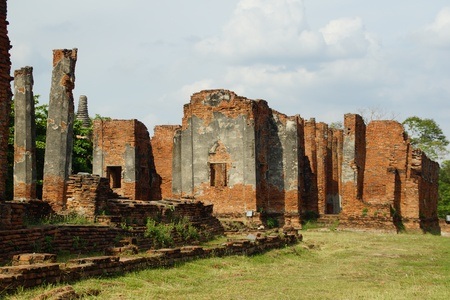 Ancient Ruins in Ayutthaya Historical Park Stock Photo