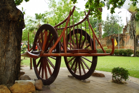 Old Wooden Thai Native Style Cart and Carriage photo