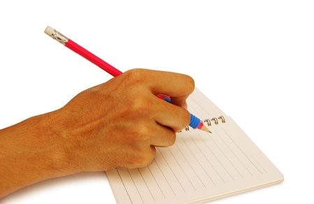 Isolated picture of man writing on notebook                      photo