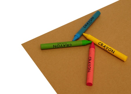 Wax Crayons on Craft Paper Board   Stock Photo