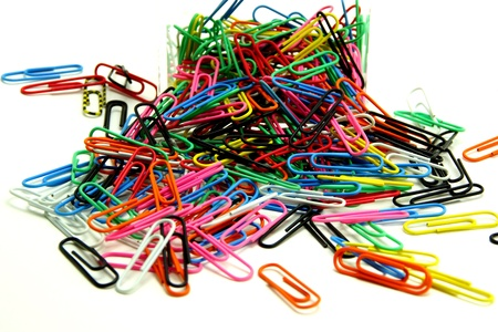 Colorful Paper Clips in Acrylic Box               photo