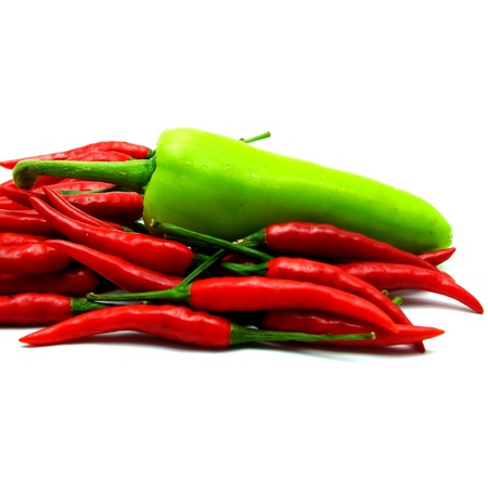 Red Hot Chili and Green Bell Pepper on White Background photo